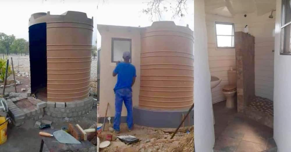 Man turns Jojo tank into a makeshift bathroom and Mzansi is impressed