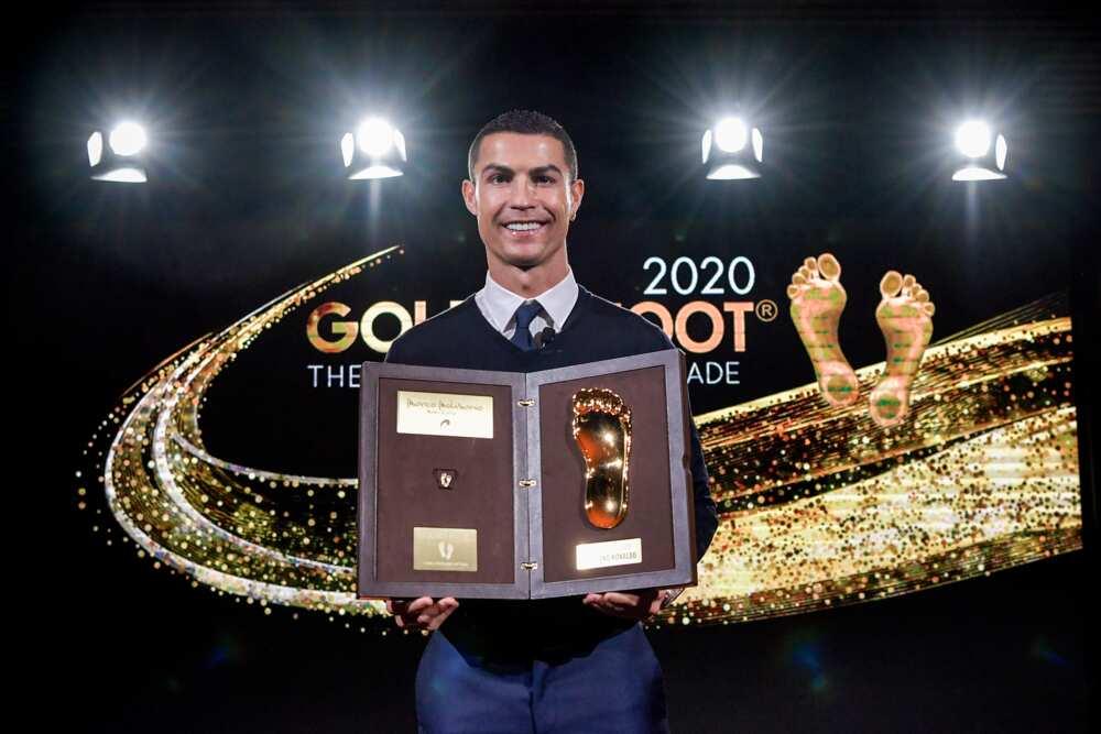 Cristiano Ronaldo posing with his award