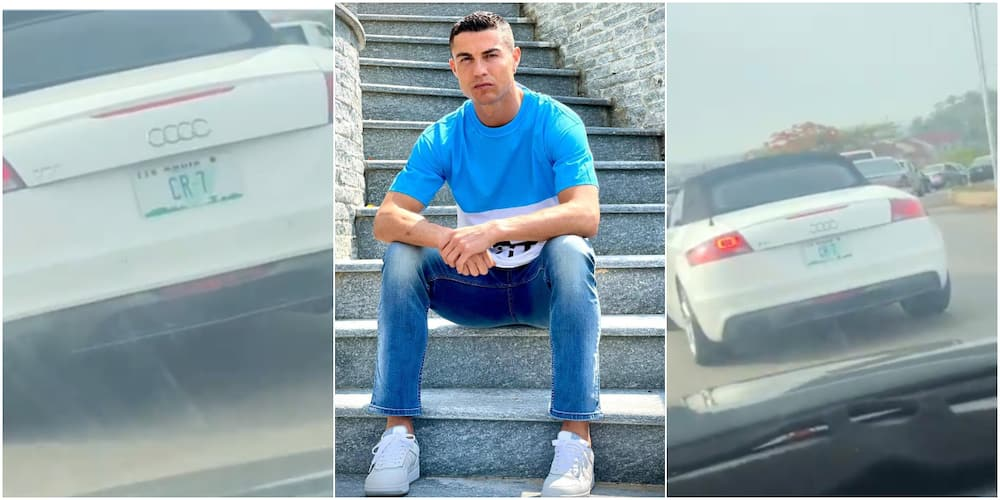 Ronaldo is in Abuja: Massive reactions as car with CR7 plate number sighted in FCT