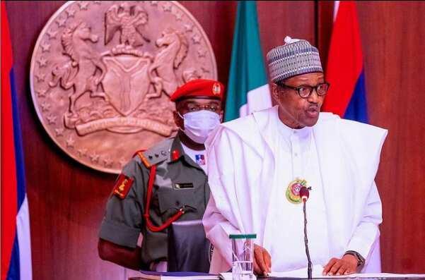 President Buhari in the presidential villa