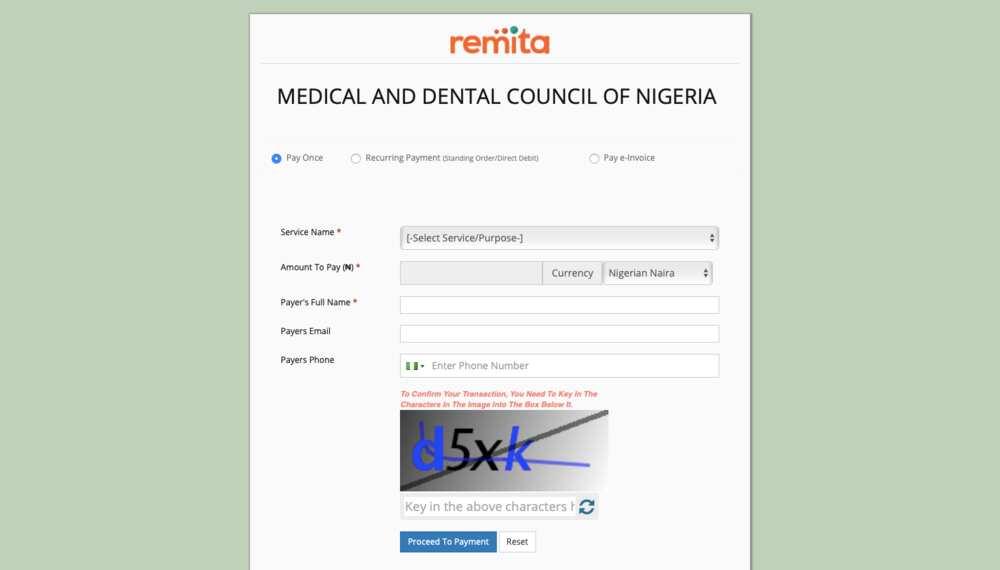 Medical & Dental Council of Nigeria portal payments