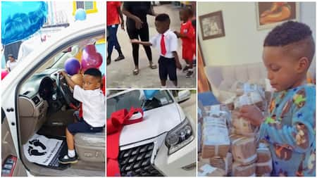 Nigerian billionaire buys Lexus 2021 worth N45m for his kid son for his birthday, takes it to school in video