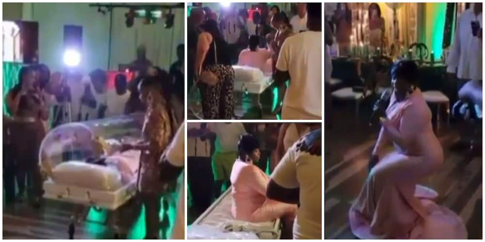 Video of lady arriving her 50th birthday party in a casket sparks reactions on social media
