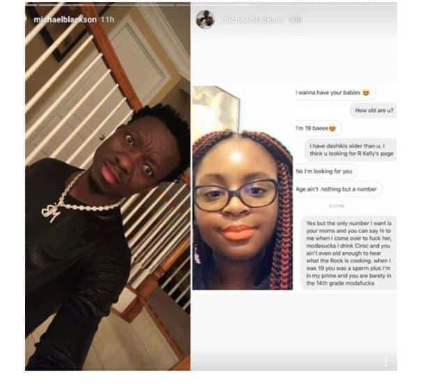 Conversation between Michael Blackson and 19-year-old lady Source: Michaelblackson/Instagram