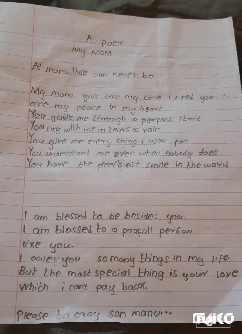 Parenting: 10-year-old Kenyan boy pens emotional poem for ailing mother