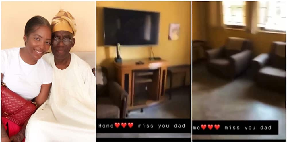 Mourning singer Tiwa Savage visits her late father's house.
