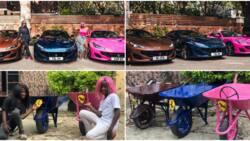 DJ Cuppy, Temi Otedola react as Ikorodu Boiz recreate photos of their Ferrari cars with wheelbarrows
