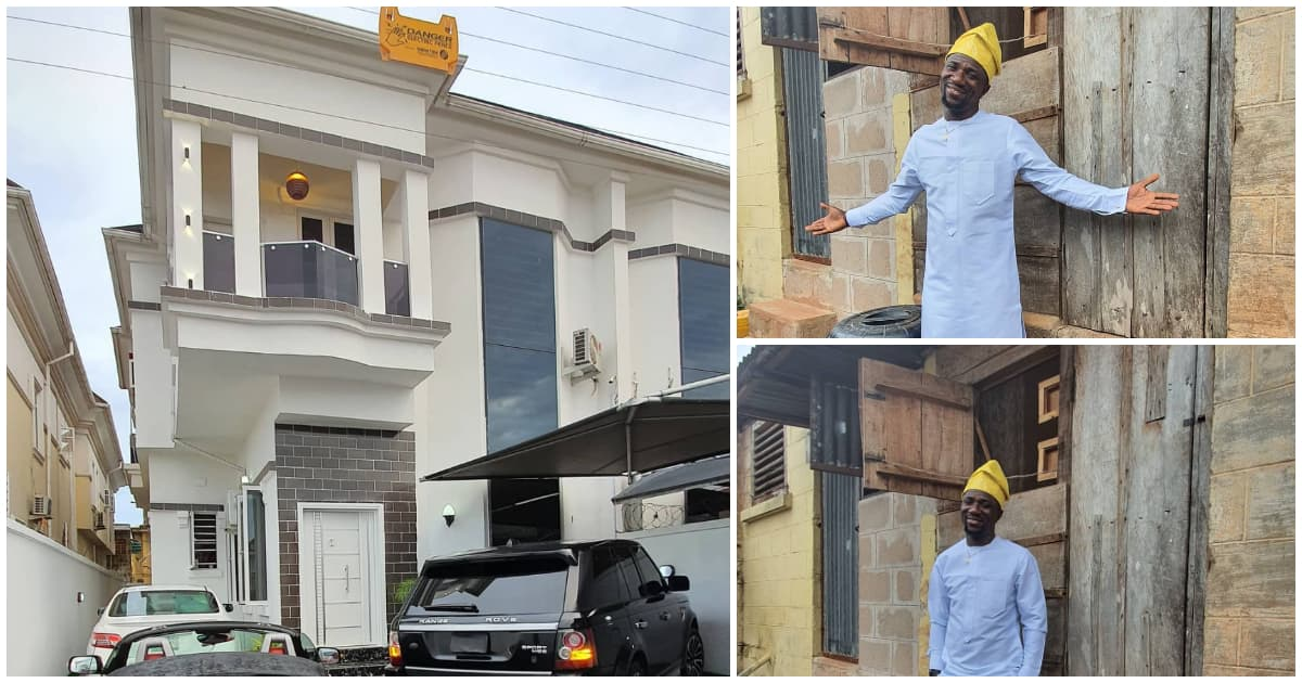 Comedian Ogusbaba becomes a house owner in Lekki, visits first rented apartment in Enugu - Legit.ng