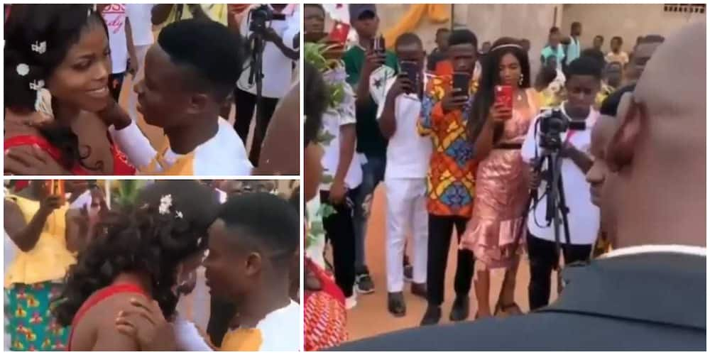 Reactions as bride refuses kissing her man at their wedding ceremony, video goes viral