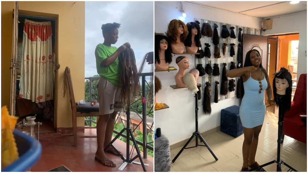 Nigerian lady who started hairdressing in front of room finally opens big salon
