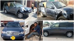 After this accident-damaged jeep was towed from Lagos to Osogbo, see how this man turned it into a new one, many praise the transformation (photos)
