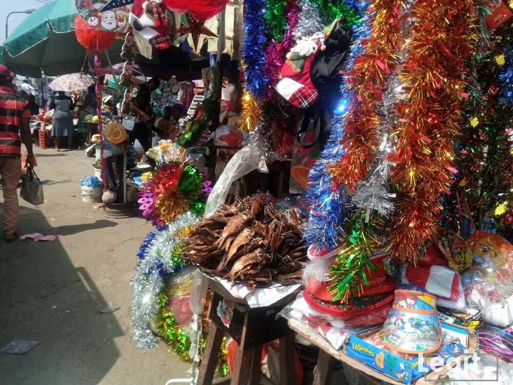 Christmas accessories on display at Ketu market, Ketu, Lagos. Photo credit: Esther Odili