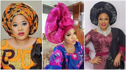 Check out 5 beautiful, rare gele photos of Nollywood actress Toyin Abraham