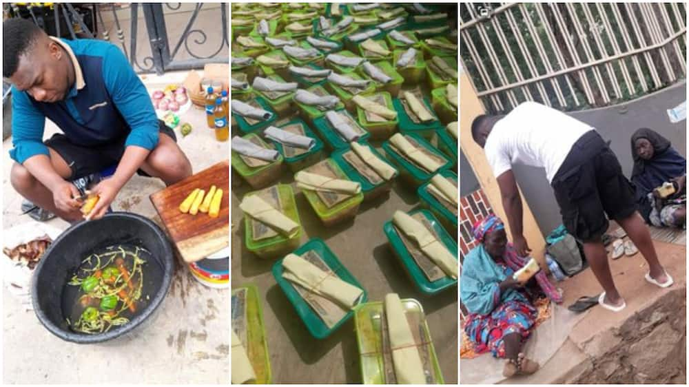 Young Nigerian man cooks food, puts N200 on top, shares them to beggers