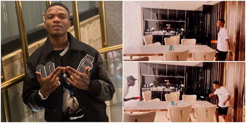 Leisure Hour: Singer Wizkid Spotted Playing Table Tennis in His Apartment, Converts Dining Room