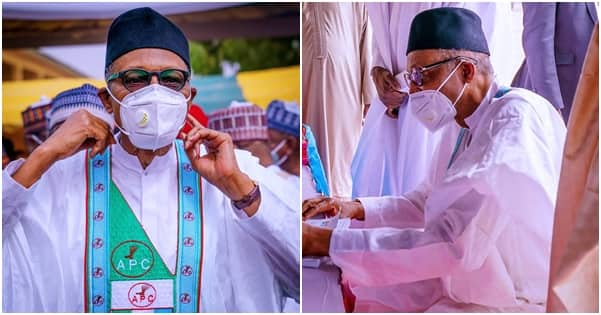 Presidency provides evidence President Buhari observing COVID-19 guidelines (photos)