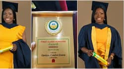 Nigerian lady bags first class, shares adorable graduation photos that's causing traffic online, many react