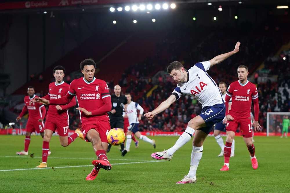 Liverpool vs Tottenham in action