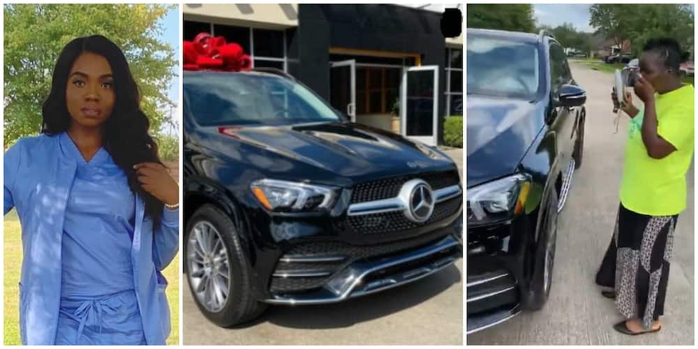 Reactions as Nigerian Lady Surprises Her Mum with a 2021 Mercedes GLE and Some Cash