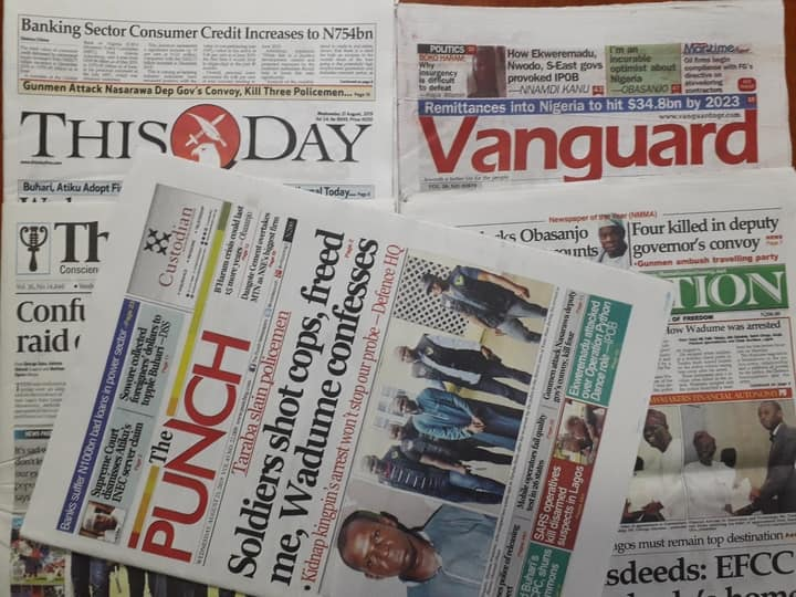Nigerian newspaper review for Wednesday, August 21: Robbers attack Nasarawa deputy governor's convoy, kill 3 policemen