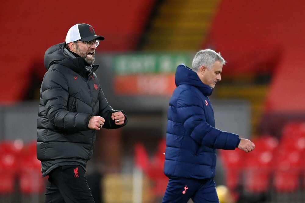 Jurgen Klopp and Mourinho in action