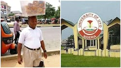Viral photo of man who sells doughnut to feed his family and pay his school fees at UNIUYO