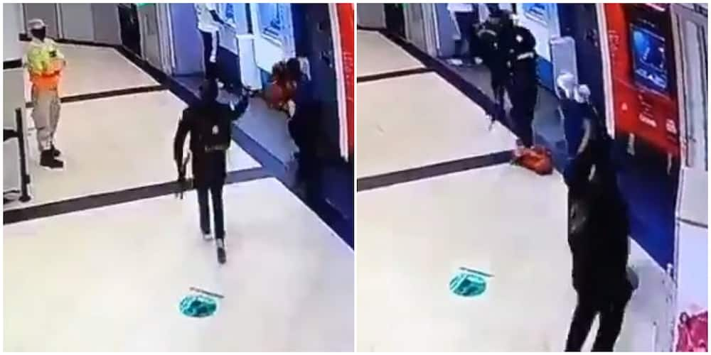 Security Man 'Vanishes' as Armed Robbers Storm and Rob a Store in Emerging Video