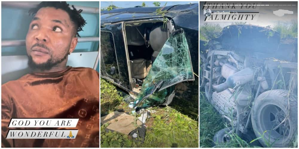 Photos of Nigerian singer Oritsefemi and scenes of the accident.