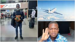 Bye bye Nigeria: Young man relocates to UK, shares his airport arrival photo, causes 'commotion' online