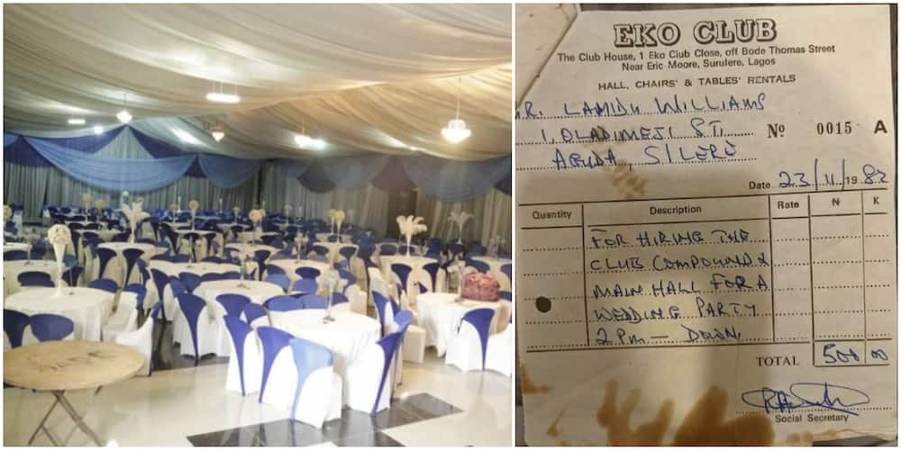 Reactions as Nigerian man shows off old receipt of wedding hall he had rented at N500 in 1982 that is now N2m
