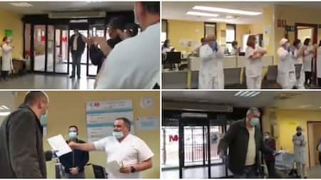 Doctors and nurses give standing ovation and cash gift to taxi driver who brings patients to hospital free