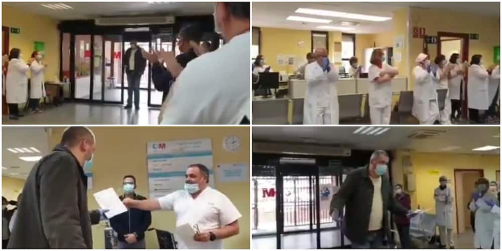 Sweet moment taxi driver who usually took patients to hospital for free got a standing ovation, cash from doctors and nurses