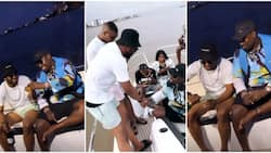 Oba boys: Cross finally links up with billionaire Obi Cubana, chills with him as they go on boat cruise
