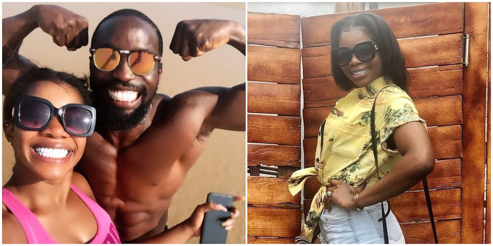 Wizkid's first babymama Shola spotted with shirtless male friend