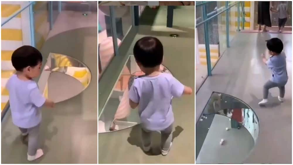 Funny moment baby runs away from trasparent floor design, thinks he's going to fall