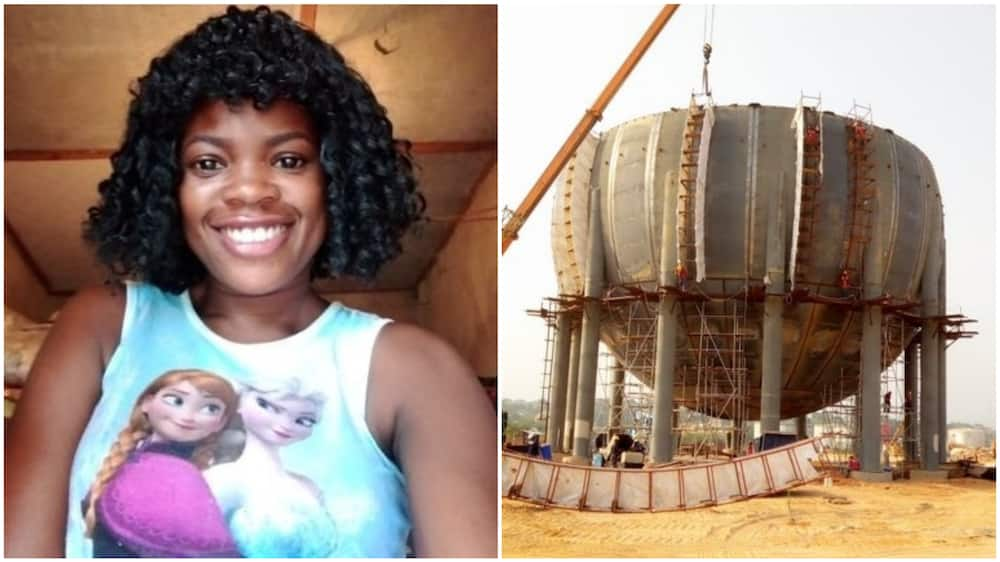 A collage of the woman and a picture of the welding work her ex does. Photo source: Twitter/@NdugirlID