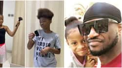 Peter Okoye's daughter likens brother's full hair to makeup brush in funny video, fans react