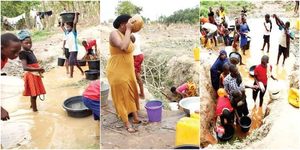 Photos of Abuja Community Residents Drinking from Dirty Stream Saddens Nigerians as Images Go Viral