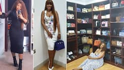 Madam go always be madam: Fans react after Linda Ikeji shows off her colourful array of bags in new photo