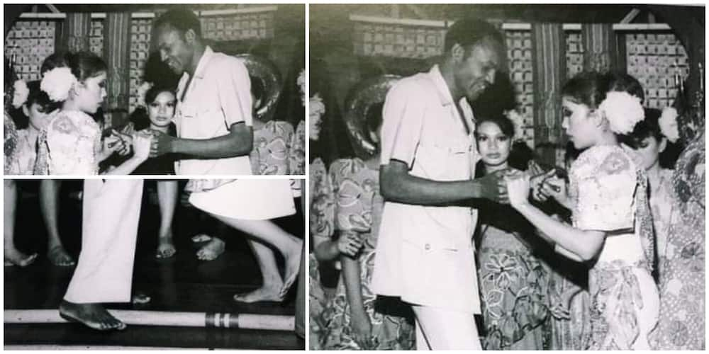 Old Photo of President Buhari as a Young Man Dancing with White Lady Bare-Footed Stirs Reactions