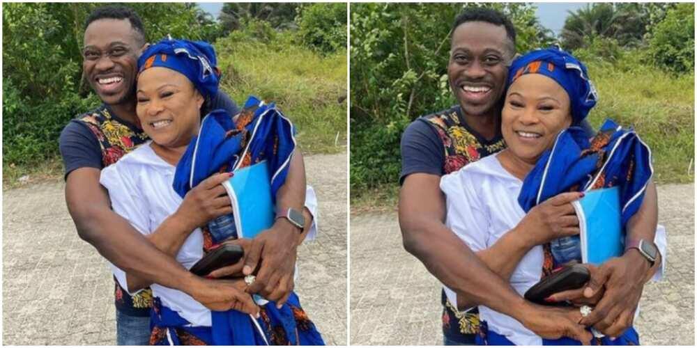 Adedimajin Lateef hugs Sola Sobowale with excitement