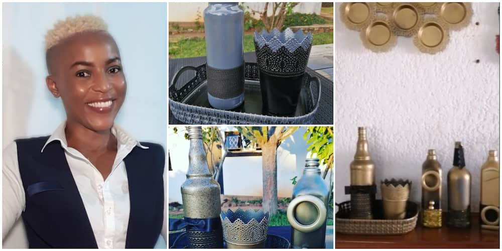Young Lady Turns Empty Wine Bottles into Amazing Home Decoration Accessories, Photos Impress The Internet