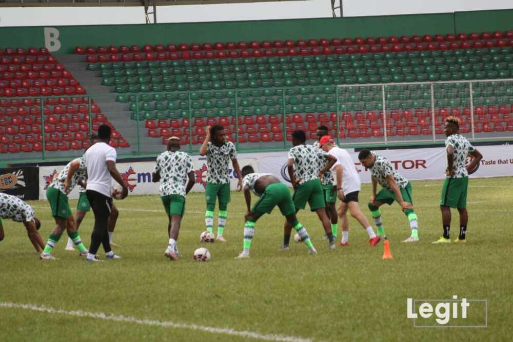 Super Eagles training at Stephen Keshi stadium in Asaba