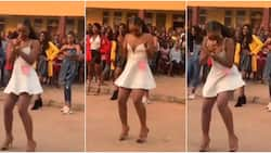 Nigerian lady wows many with amazing legwork in heels as she's surrounded by onlookers, video stirs reactions