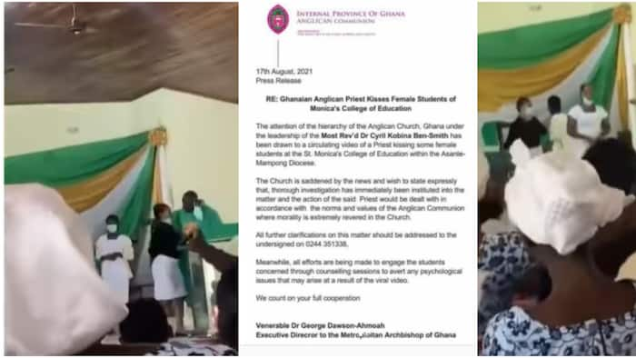 Anglican church finally speaks after priest was captured kissing female students, many react