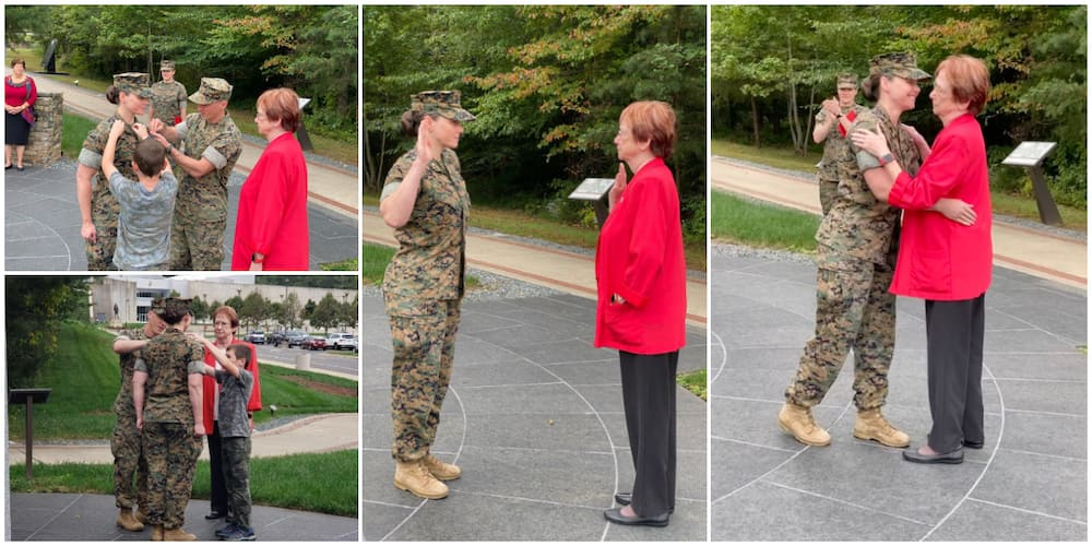Joy as US marine office gets promoted to new rank by her mum who had served in the force for 22 years