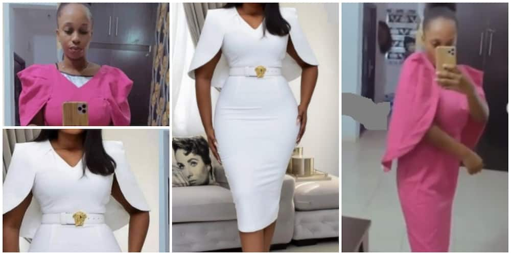 Photos of the ill-fitted dress.