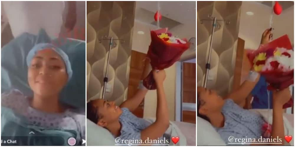 There's Love in Sharing: Reactions as Regina Daniels Receives Flowers from Co-Wives as She Undergoes Surgery