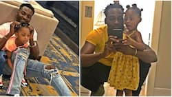 Actor Gbenro Ajibade and daughter stun in matching outfits as they celebrate Labour Day in US