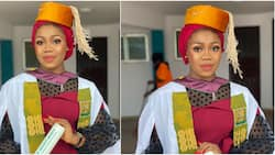 Stunning Nigerian lady bags first class degree in accounting, many celebrate her as cute photos light up the net